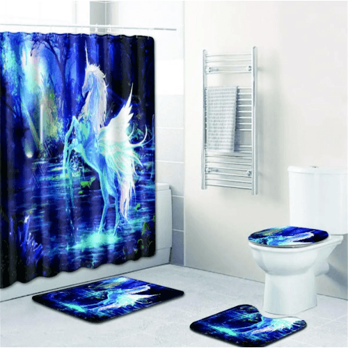 Bathroom Shower Curtain & Accessory Bath Rugs Set 4pc Corner of Value