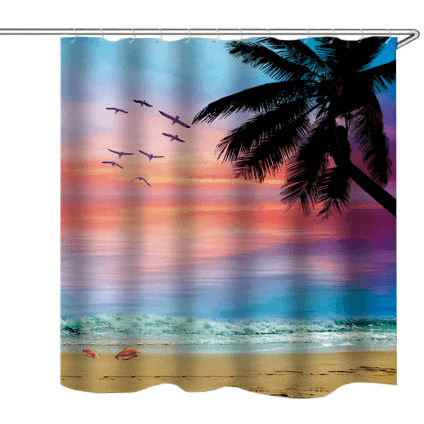 Shower Curtain 4pc Beach Style Toilet Cover Non-Slip Bathroom Mat Set Waterproof Bathroom Home Textiles Corner of Value