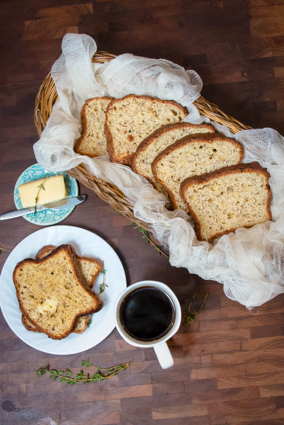 GF bread, butter and coffee