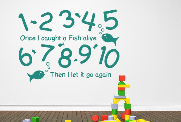 1 2 3 4 5 once i caught a fish alive wall stickers uk art for Once i caught a fish alive