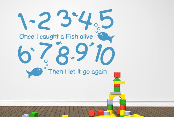 1 2 3 4 5 Once I Caught A Fish Alive Wall Stickers Uk Art