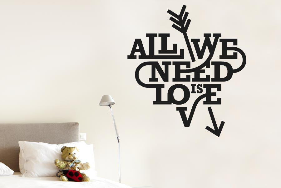 All We Need Is Love Heart And Arrow Wall Stickers Uk Art