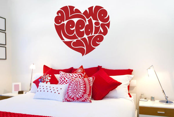 All We Need Is Love In Heart Shape Wall Stickers Uk Art