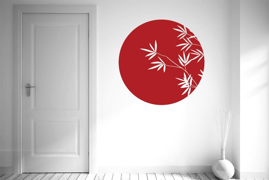 Bamboo within circle wall sticker