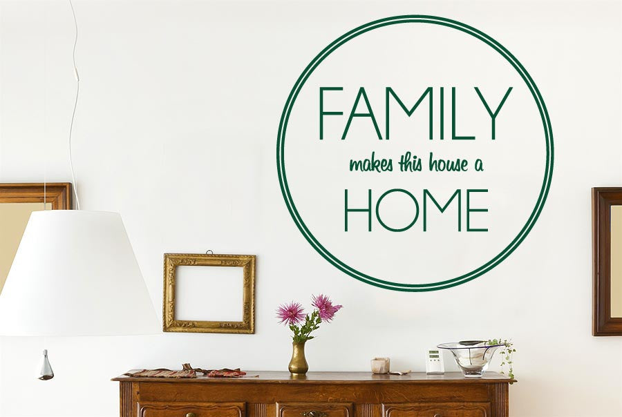 Family makes this house home circle wall sticker
