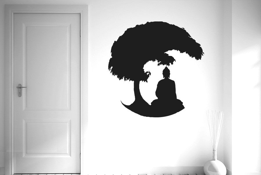 gautama buddha under bonsai tree wall sticker | cut it out wall stickers