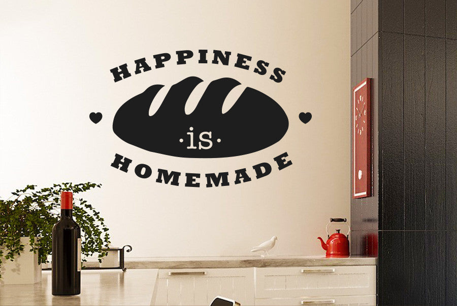 happiness is homemade loaf of bread wall sticker | cut it out wall