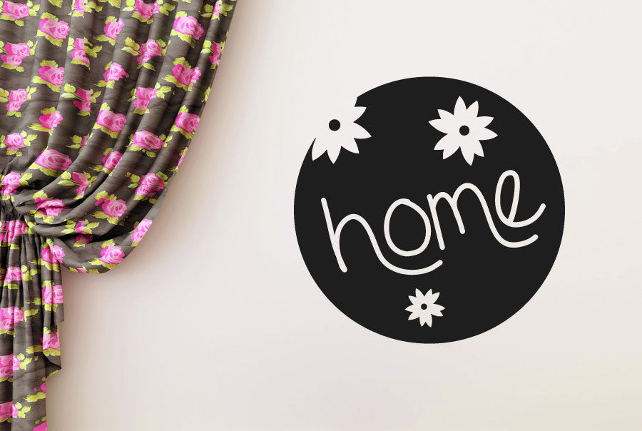 Home sign three cute flowers wall sticker