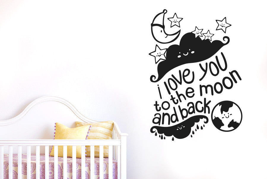 Items Similar To I Love You To The Moon And Back Vinyl: I Love You To The Moon And Back With Stars Wall Sticker