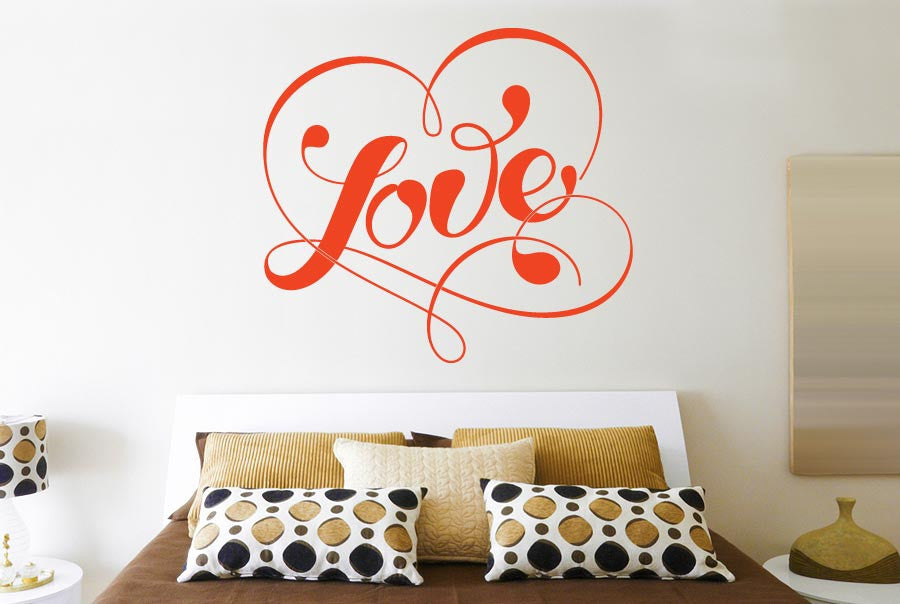 love within fancy heart cut it out wall stickers uk and art decals