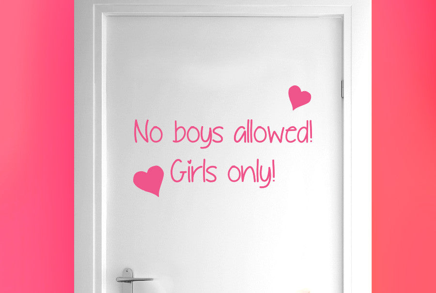 No Boys Allowed Girls Only Door Room Sticker Cut It Out