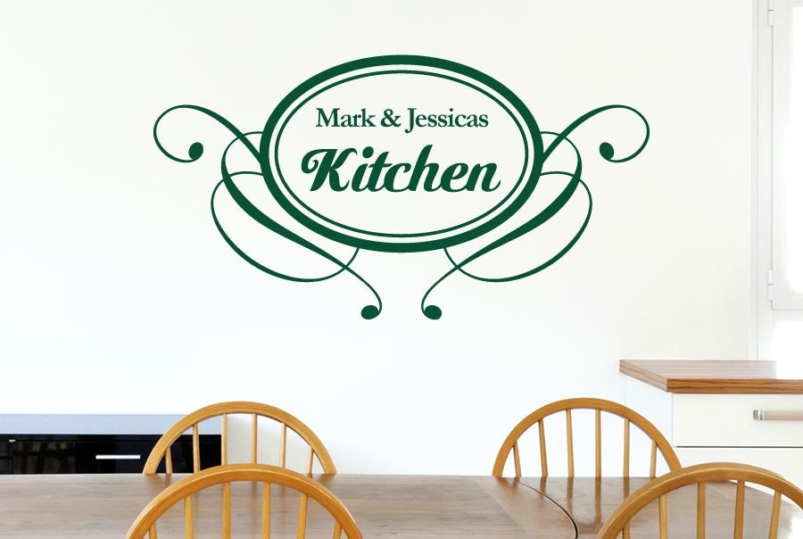 Personalised kitchen round vintage wall sticker