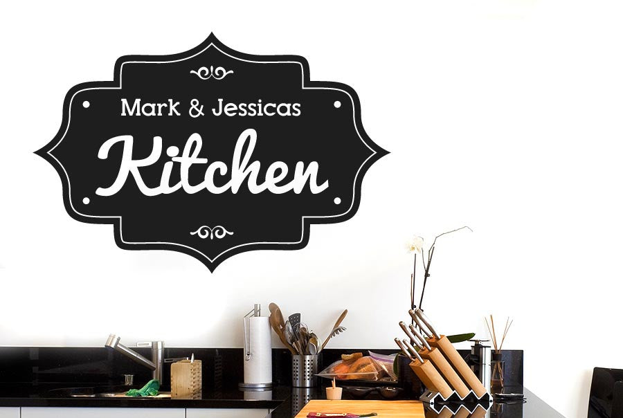 Personalised Kitchen Vintage Sign Wall Stickers Uk Art