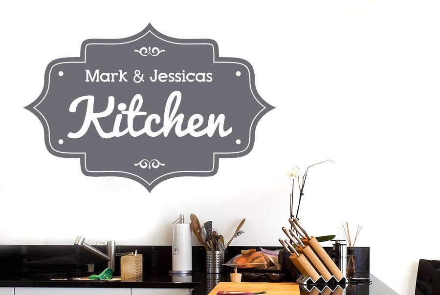 personalised kitchen vintage sign wall stickers uk art decals   cut