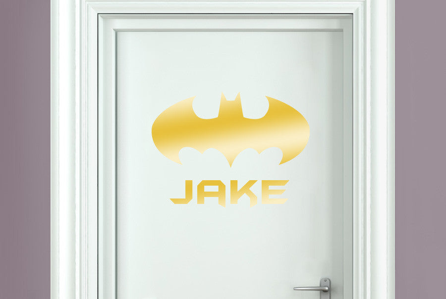 Personalised batman boys sign door room sticker