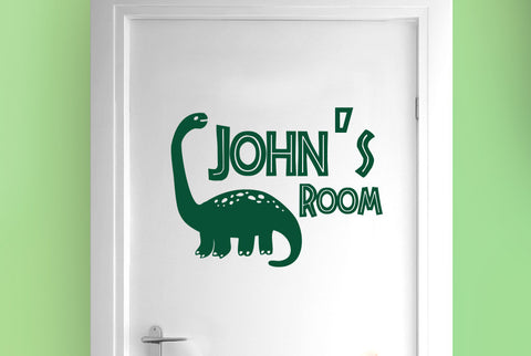Personalised brachiosaurus dinosaur boys door room sticker