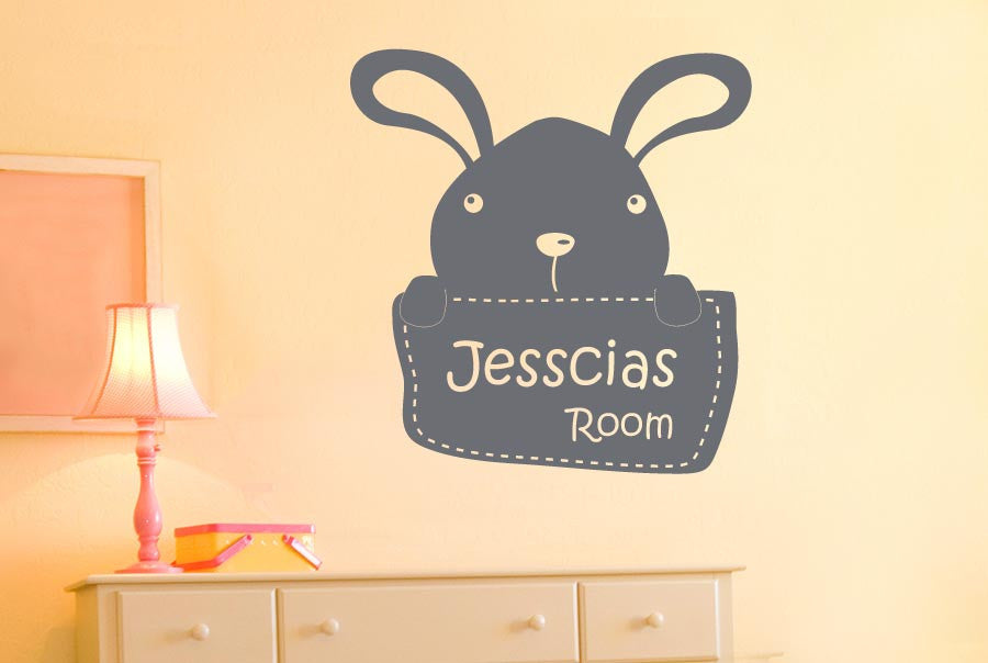 Personalised Bunny Rabbit Kids Room Sign Wall Stickers uk art decals ...