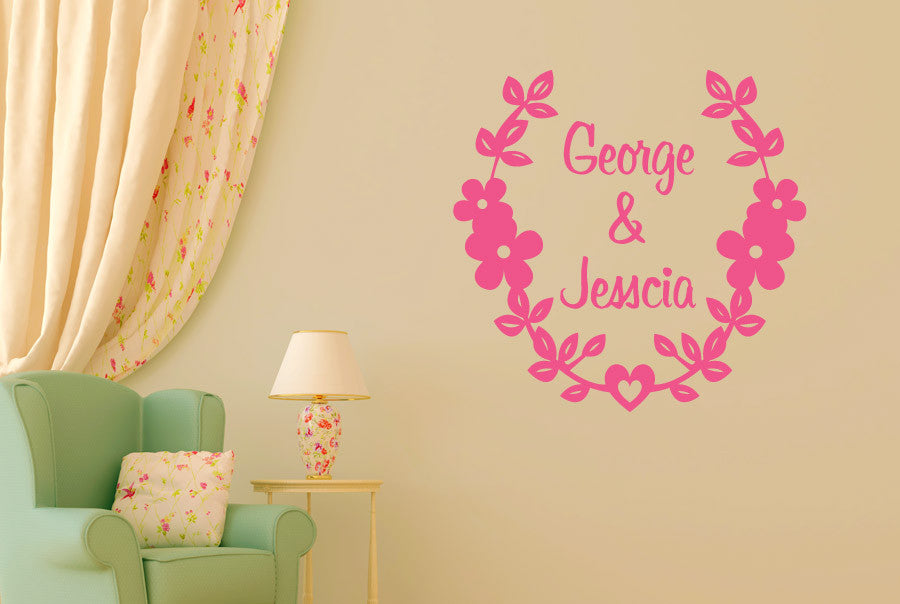 Personalised Couples Name Floral CUT IT OUT Wall Stickers Art Decals ...