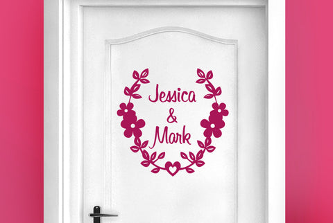 Personalised couples name door room sticker