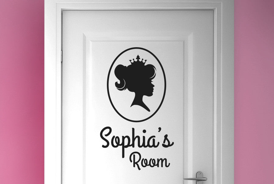 Personalised princess portrait littles girls door room sticker