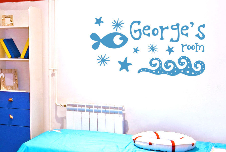 Personalised under the sea kids room sign wall sticker for Kids room signs