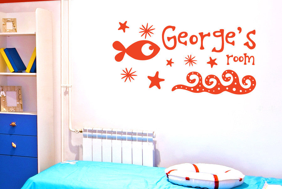 Personalised Under The Sea Kids Room Sign Wall Sticker Part 80