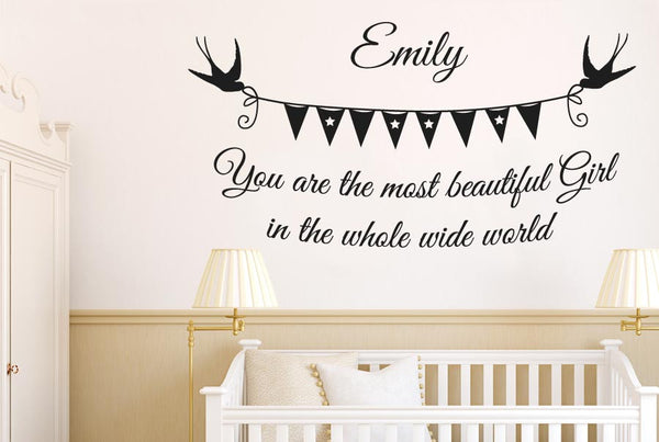 Personalised Most Beautiful Girl Wide World Wall Stickers -3150