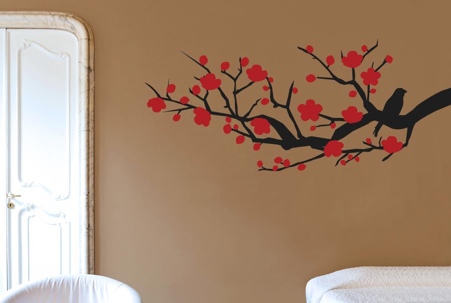 solo bird on tree branch trees wall stickers uk and art decals   cut
