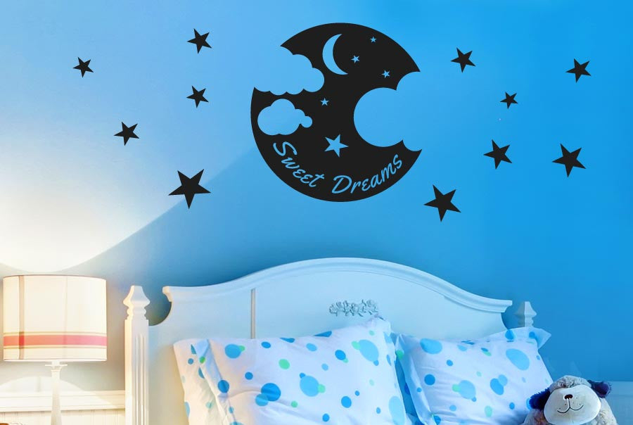 sweet dreams moon stars and clouds wall stickers uk art decals   cut