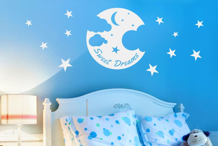Sweet Dreams Moon Stars And Clouds Wall Sticker Part 51