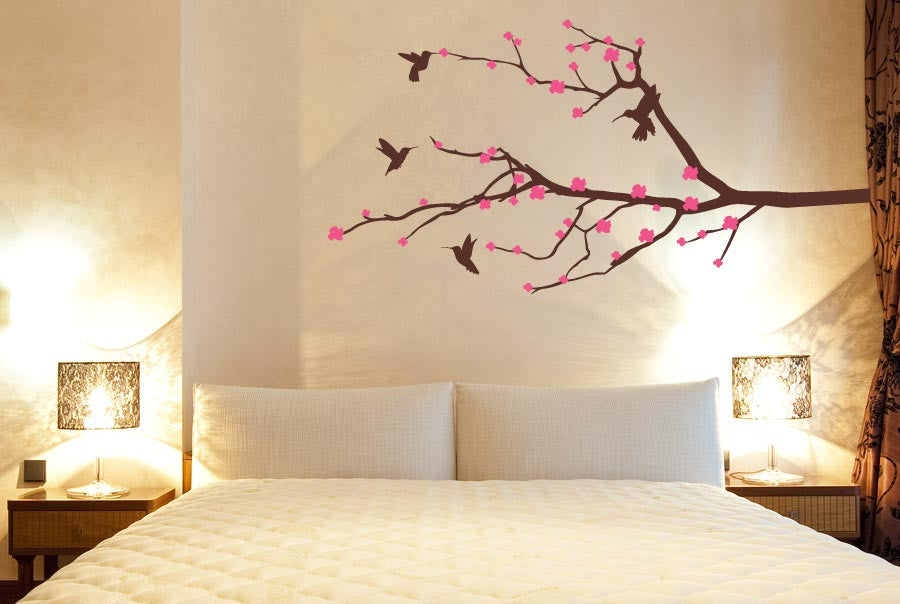 Trees Wall Sticker Cherry Blossom With Flying Birds Part 53