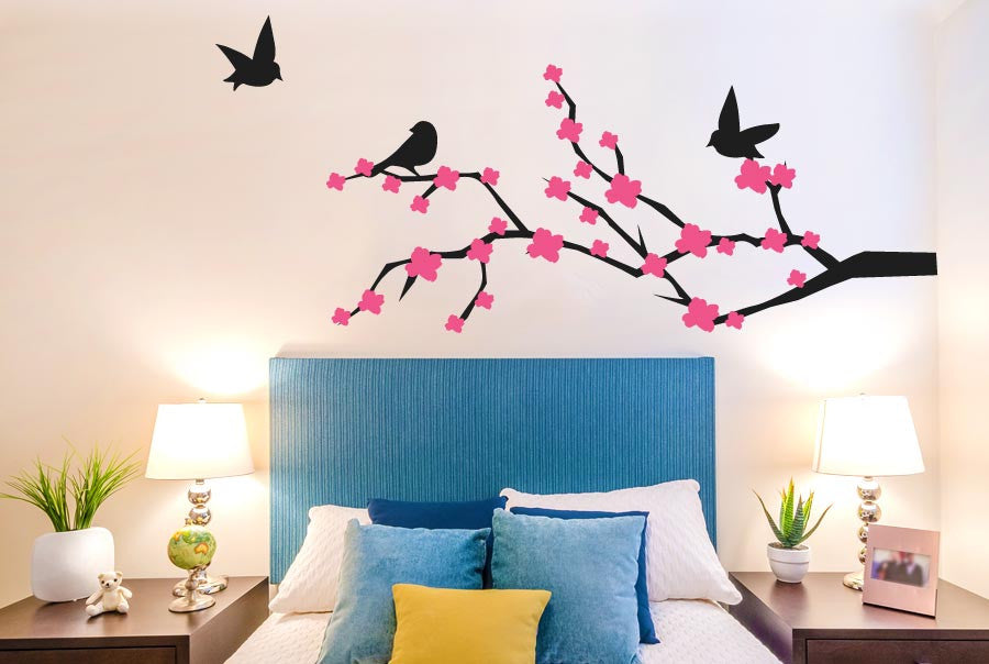 trees wall stickers uk and art decals cherry blossom with cute birds