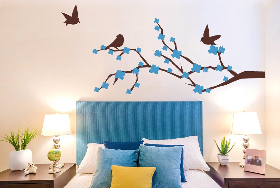 Trees Wall Sticker Cherry Blossom With Cute Birds
