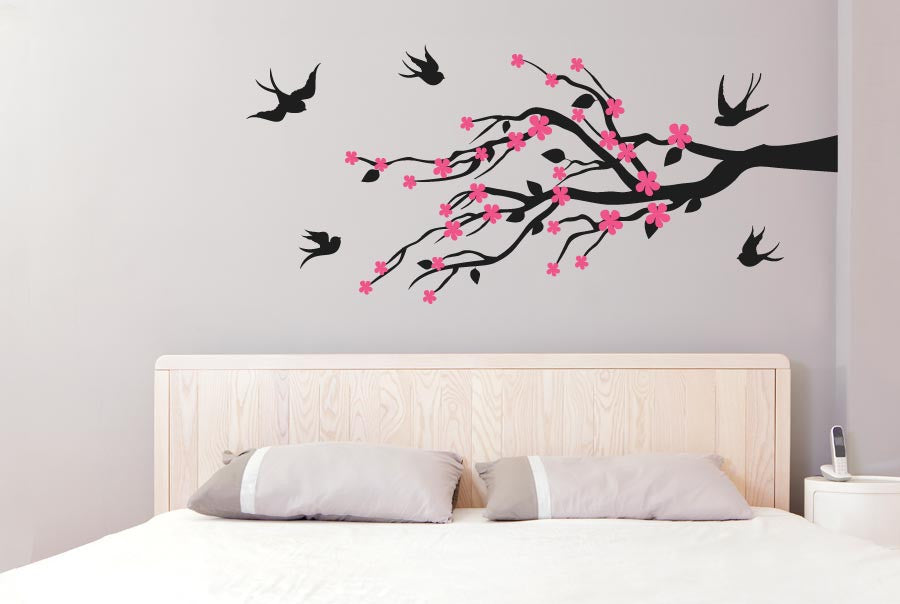 Trees wall stickers leaves flowers with cute birds
