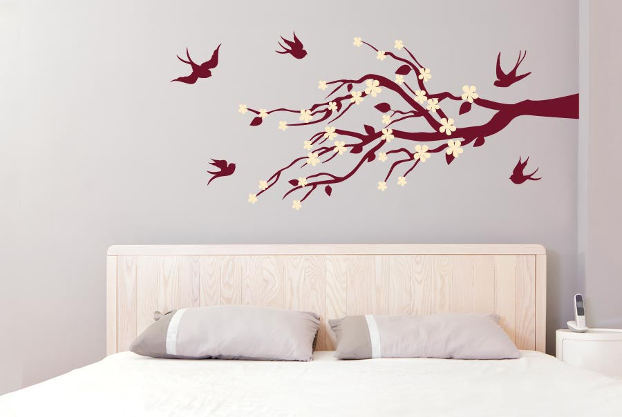 Trees Wall Stickers Leaves U0026 Flowers With Cute Birds