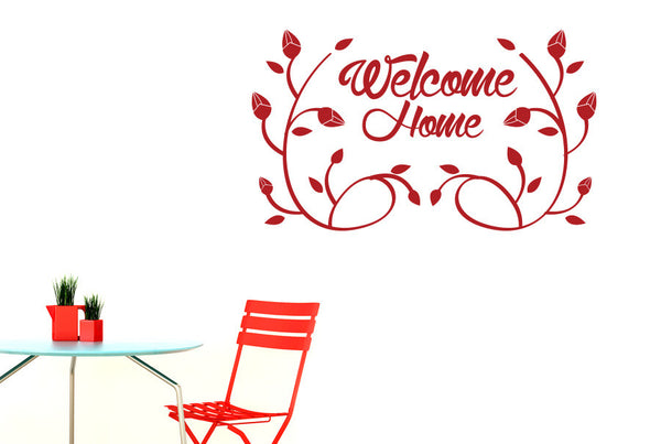 Welcome Home Flower And Vines Wall Sticker Cut It Out