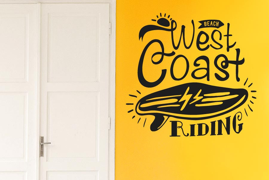 West coast riding beach wall sticker