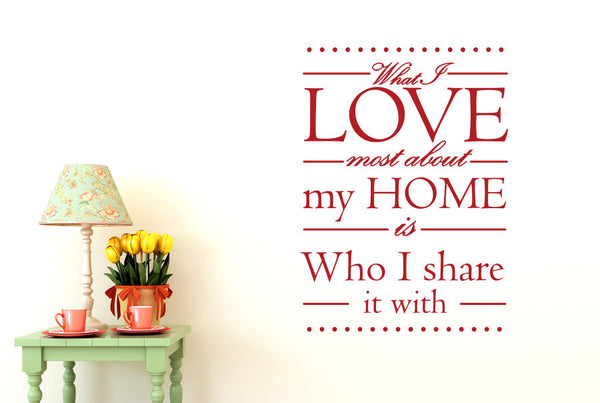 What I Love Most About My Home Is Who I Share It With Wall
