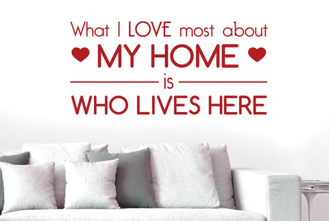 7f816d5998 What I Love Must About My Home Is Who Lives Here Wall Sticker