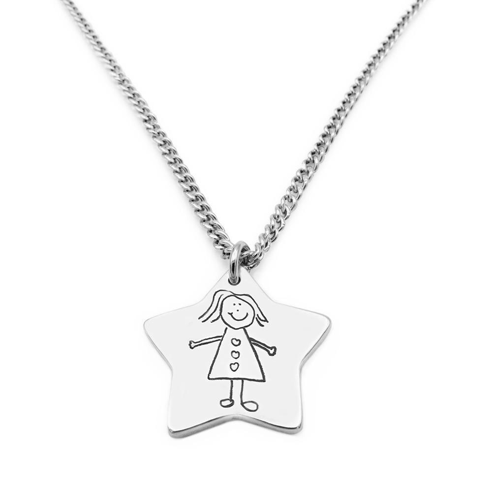 Star shaped drawing necklace on silver chain
