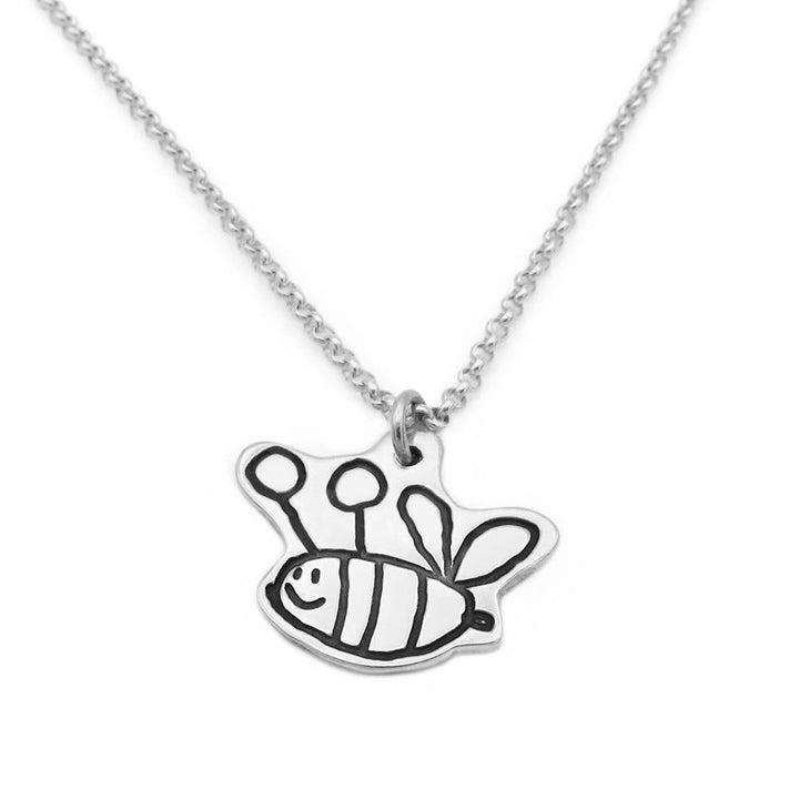 Bee drawing pendant on silver chain