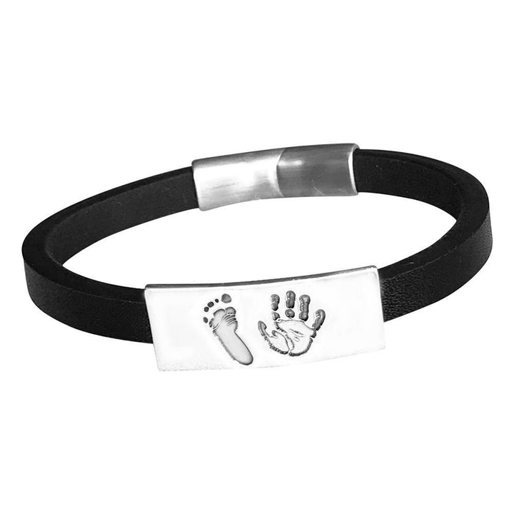 handprint and footprint bracelet on black leather cuff