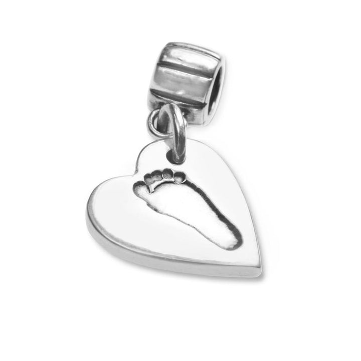 Heart shaped footprint charm on carrier