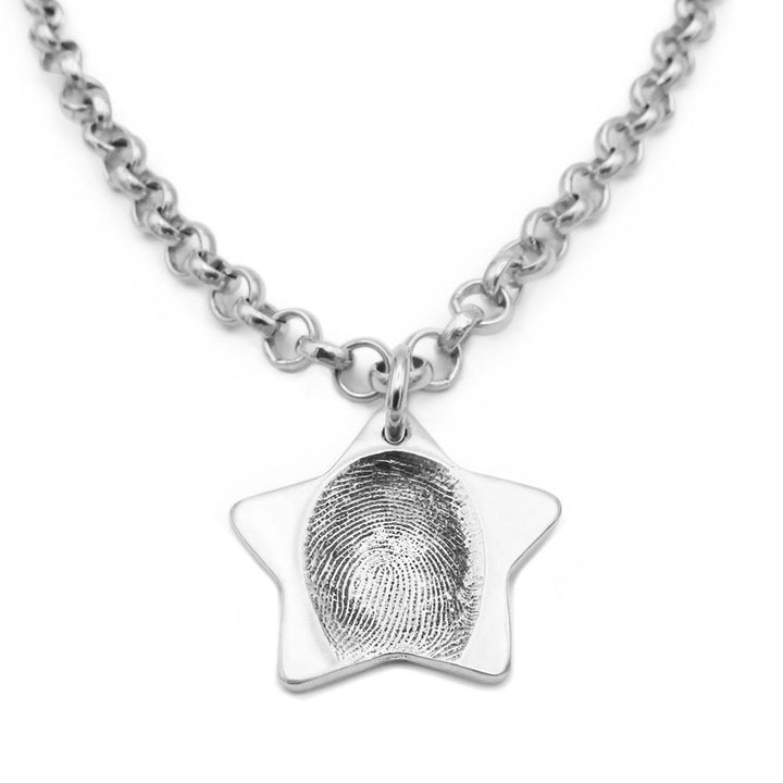 Star shaped fingerprint pendant on belcher