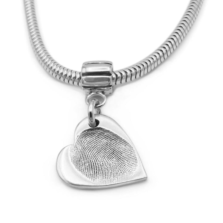 heart shaped fingerprint pendant on snake chain