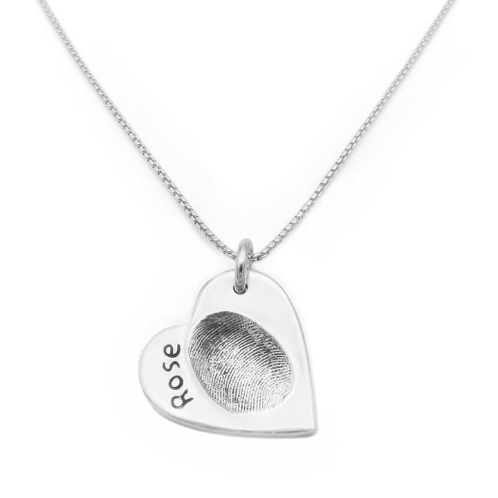 Original Fingerprint Necklace - Fine Silver Link-Smallprint