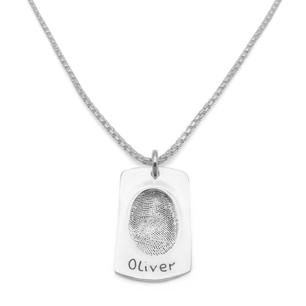 Original Fingerprint Necklace - Silver Link-Smallprint