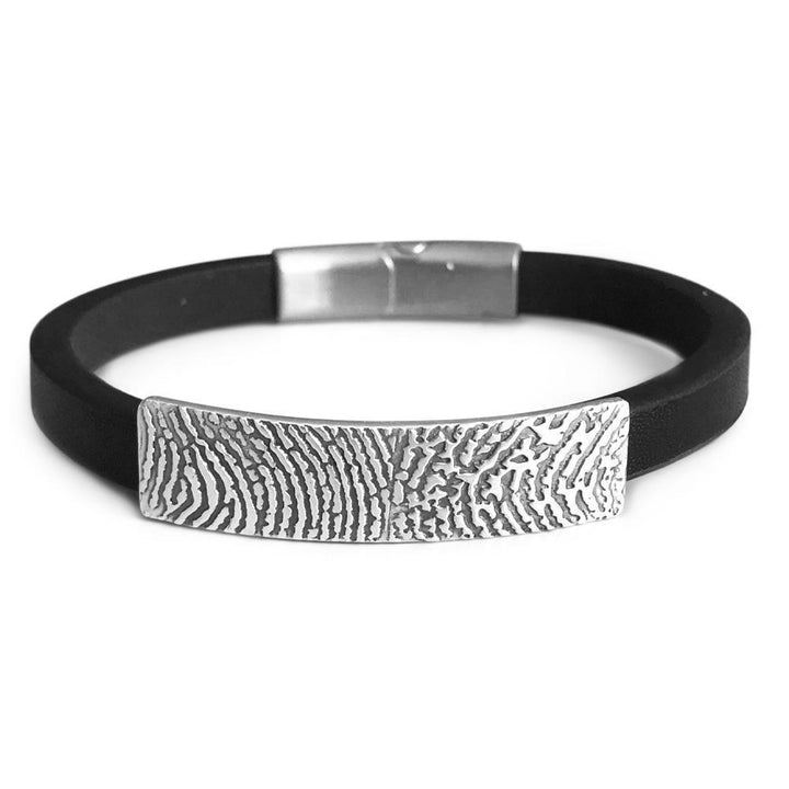 Black leather fingerprint bracelet