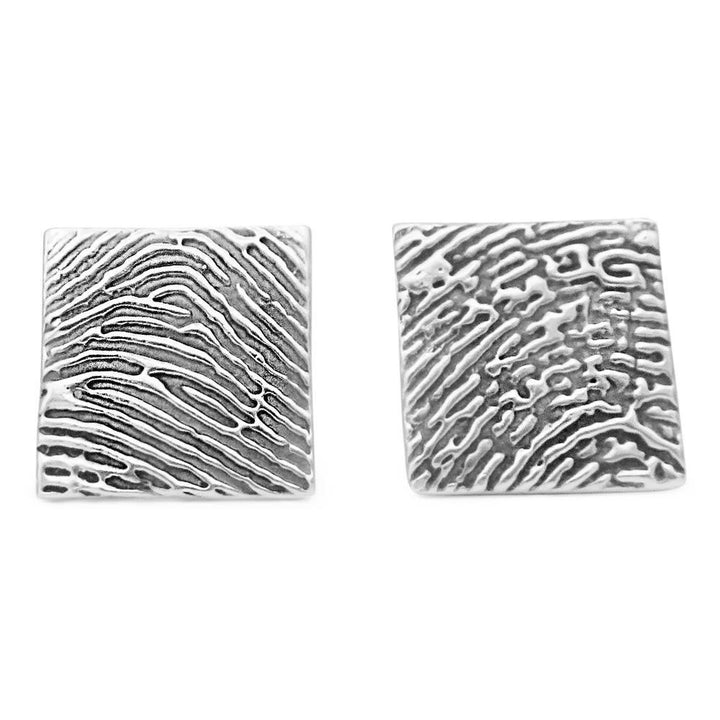Square fingerprint cufflinks in silver