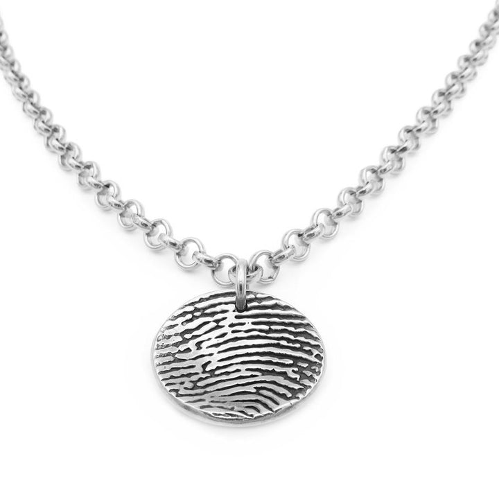 """Tender Touch"" Fingerprint Dome Necklace - Belcher-Smallprint"